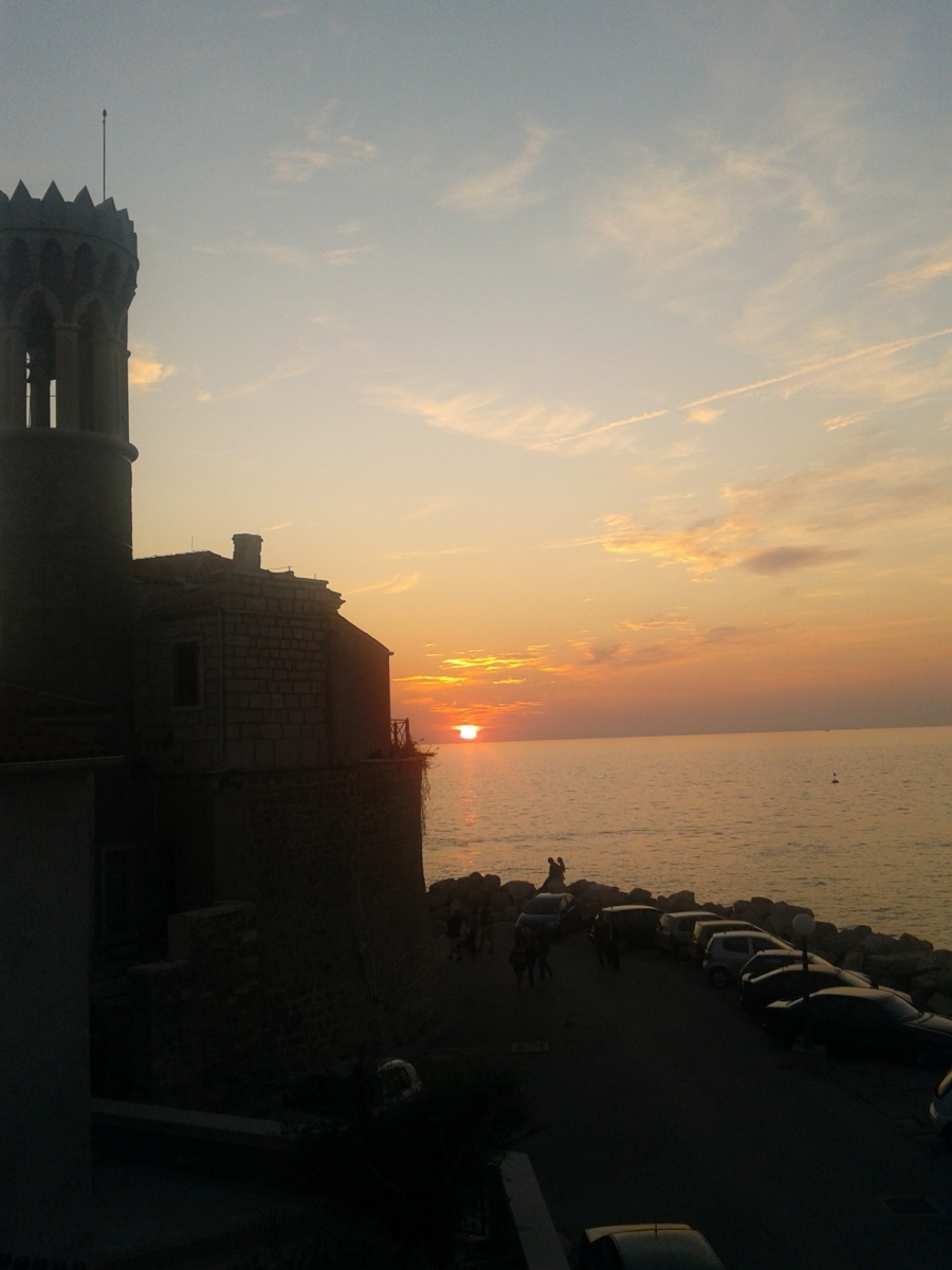 Sunset from terrace apartment Spacal Piran